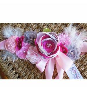 Pink and Gray Floral Wedding Maternity sash
